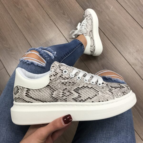 White On Snake Trendy Sneakers -3253