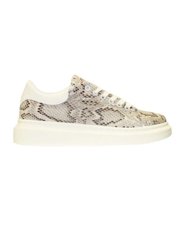 White On Snake Trendy Sneakers -0