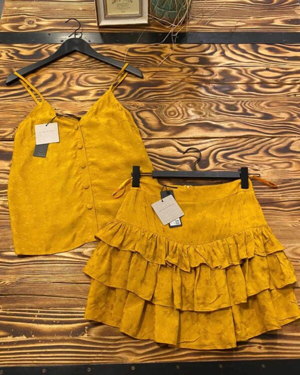 Ruffle Yellow Combi Set-4638