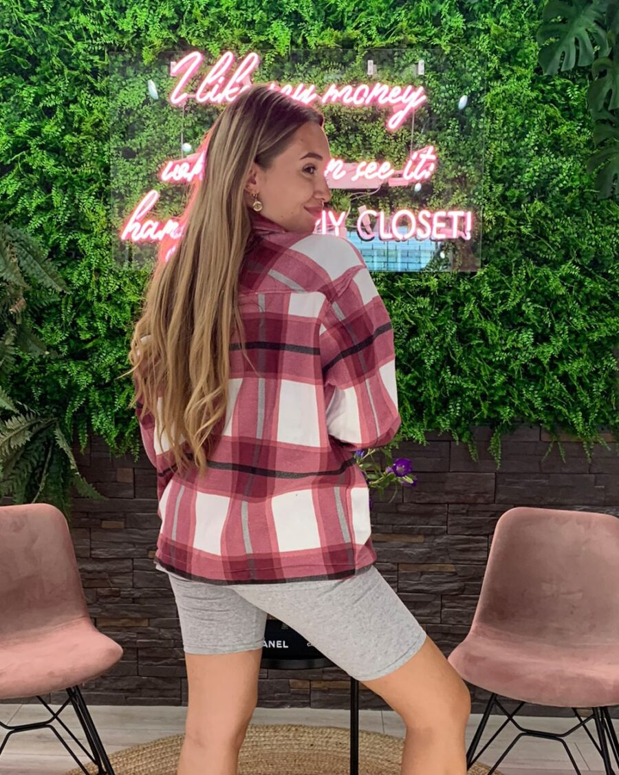 Checked Blouse Wine-4901