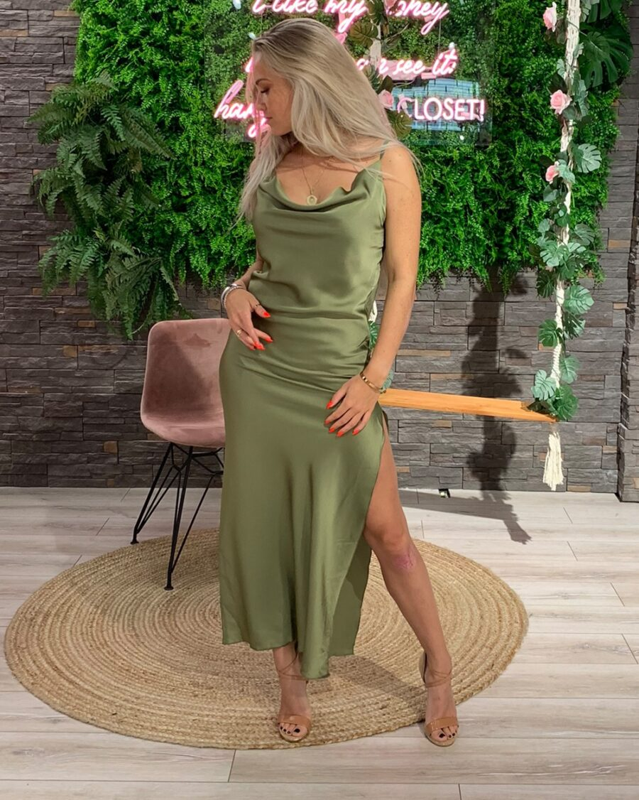 Silk Dress Olive Green-5001
