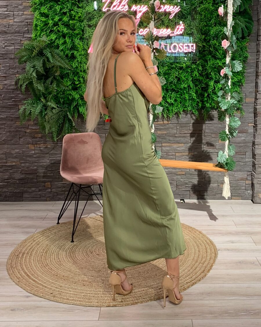 Silk Dress Olive Green-5002