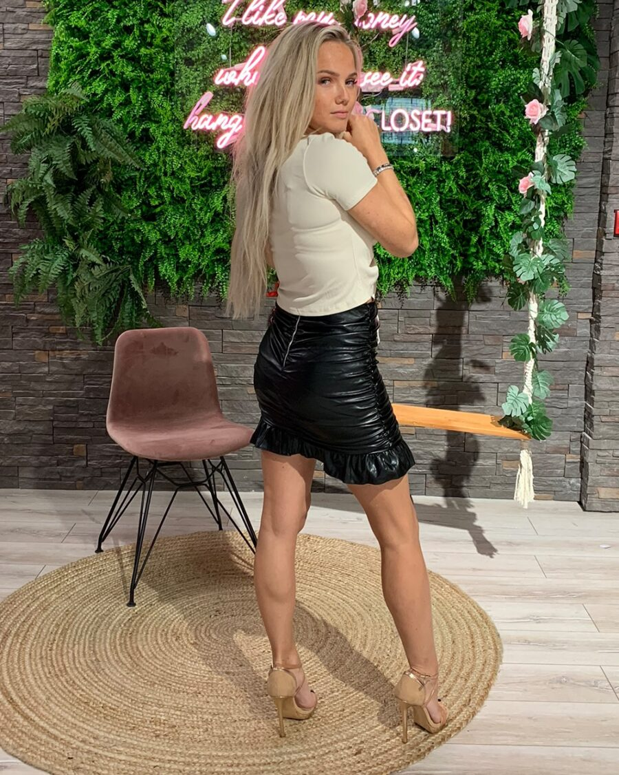 Draped Leather Mini Skirt Black-5088
