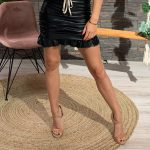 Draped Leather Mini Skirt Black-0
