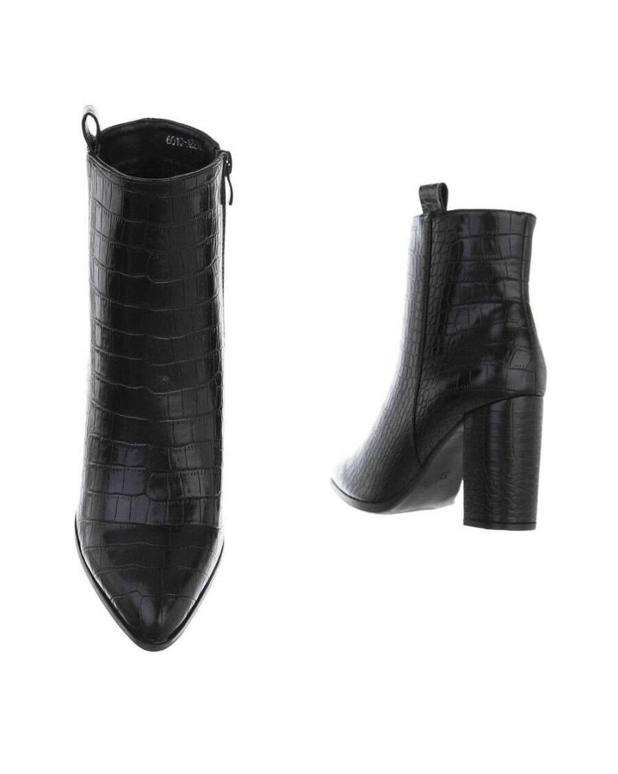 Croco Ankle Boots Black-5365