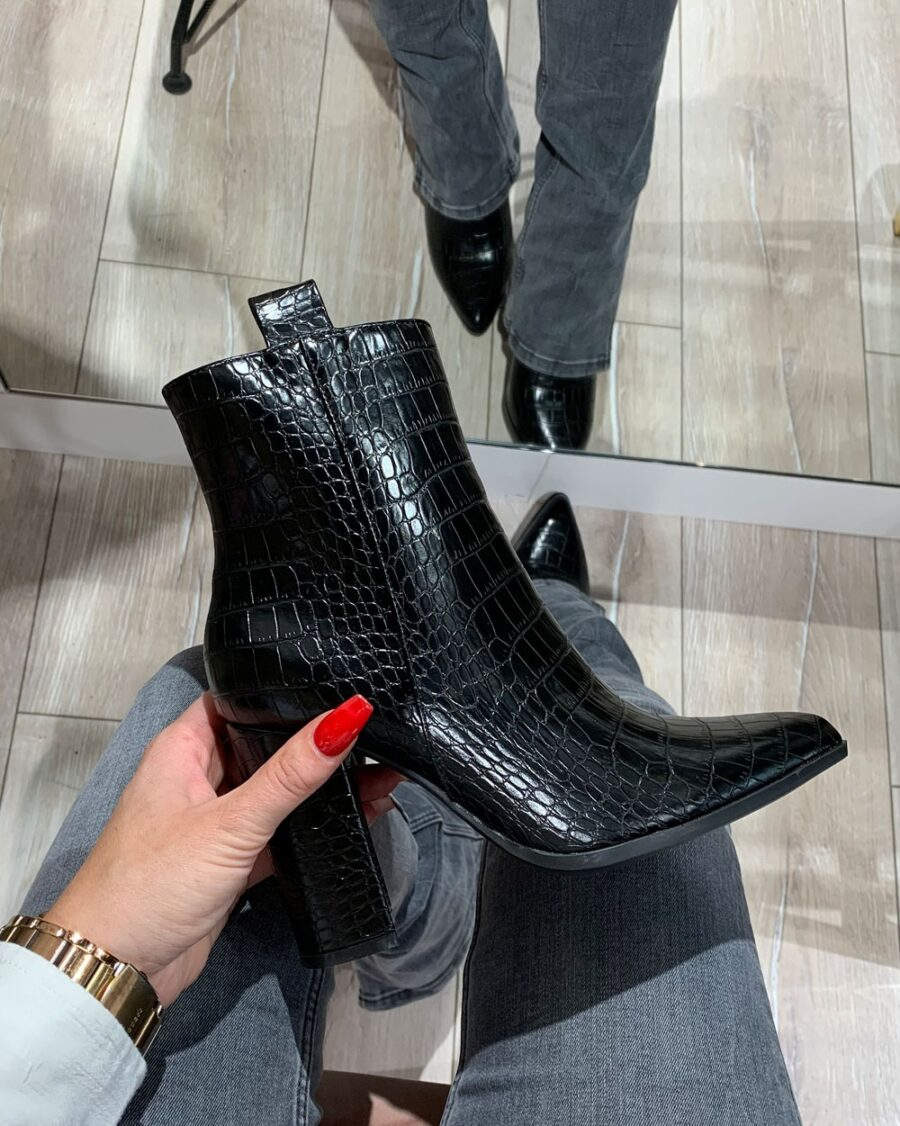 Croco Ankle Boots Black-5544
