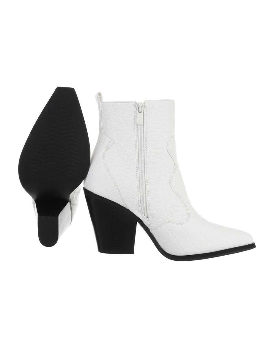 Croco Western Boots Low White-5378