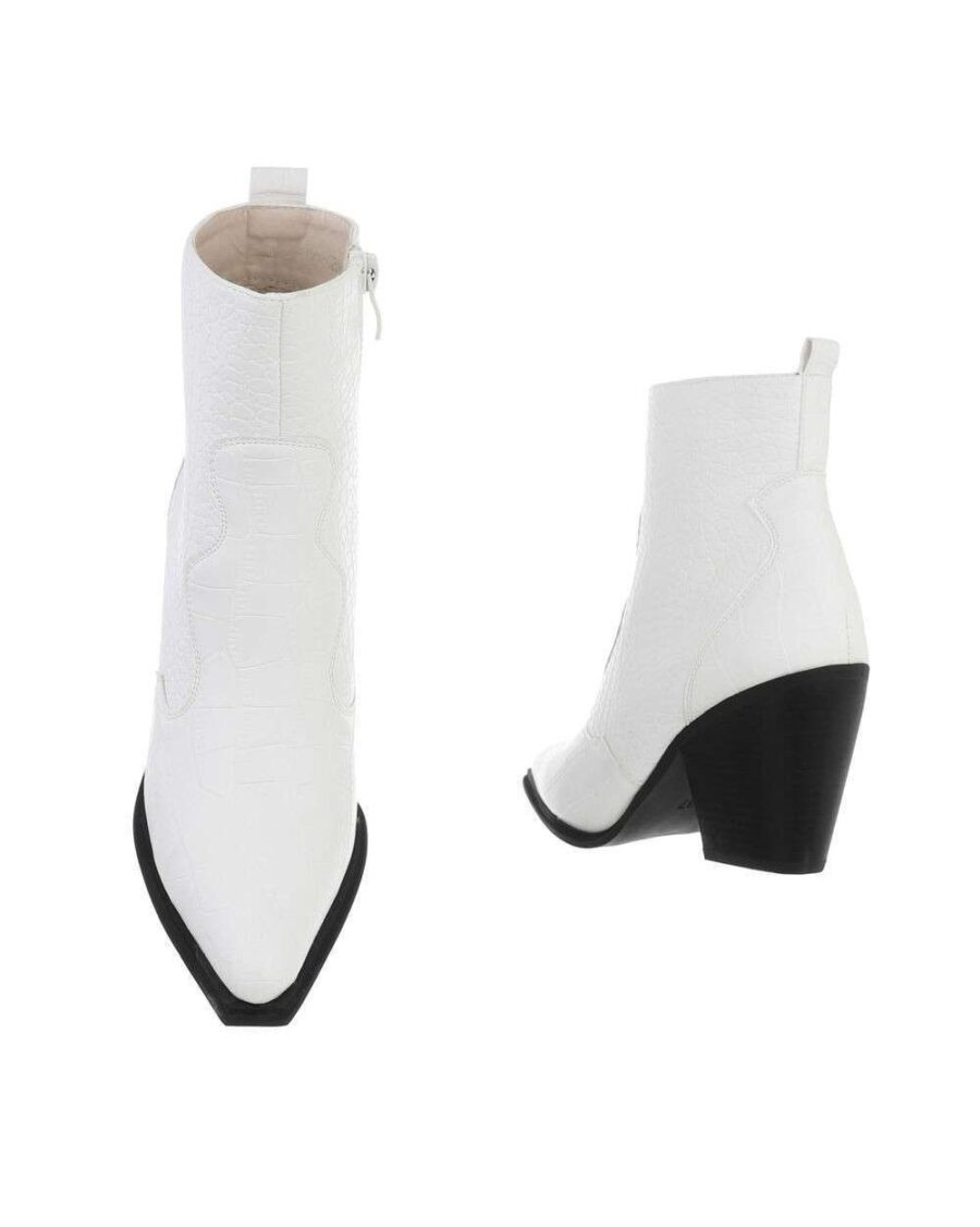 Croco Western Boots Low White-5377