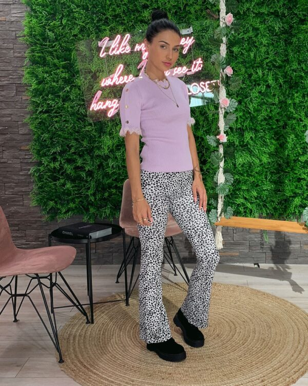 Flared Pants Dots White-5290