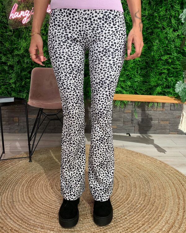 Flared Pants Dots White-0