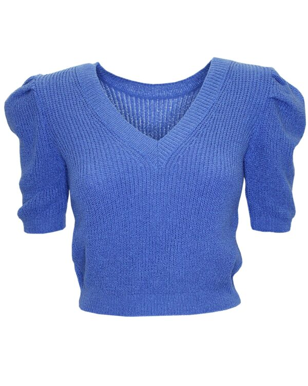 Crop Knitted Sweater Blue -0