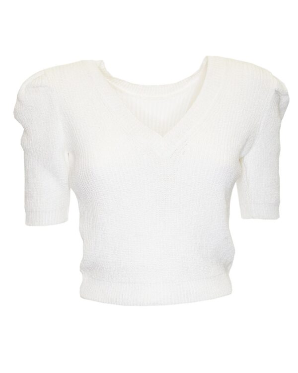 Crop Knitted Sweater White-0