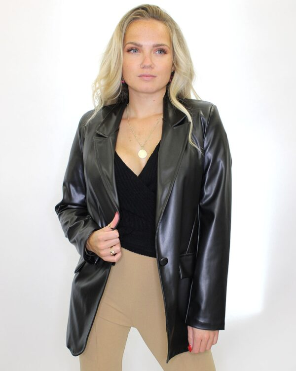Black PU Leather Blazer-5617