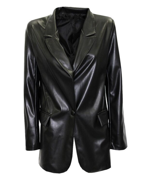 Black PU Leather Blazer-0
