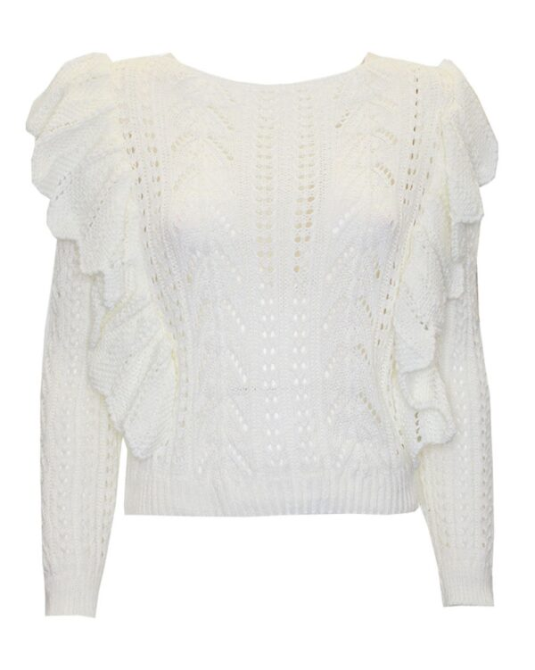 Ruffle Knitted Sweater White-0