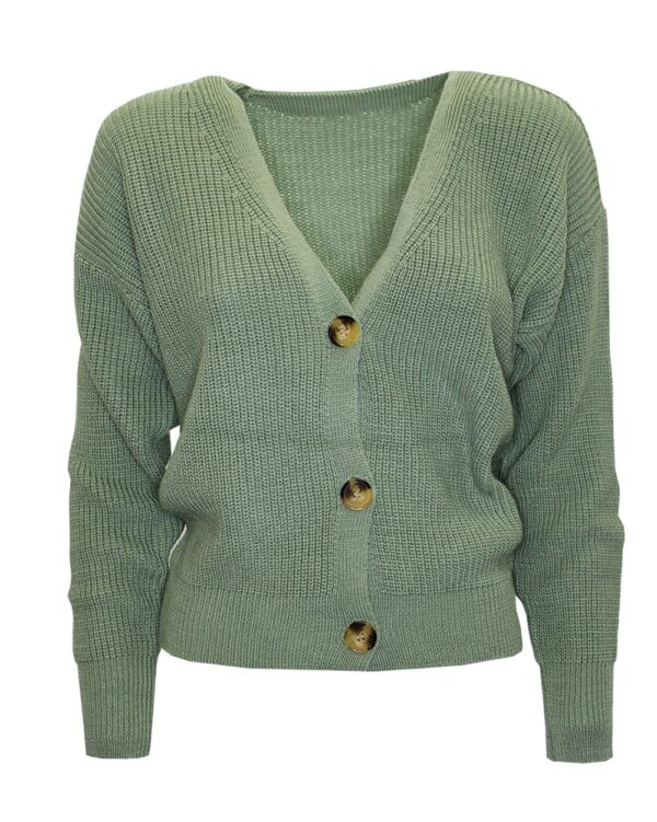 Button Cardigan Olive Green -0