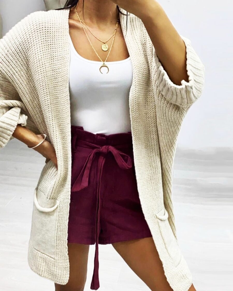 Long knitted Cardigan Nude -5740