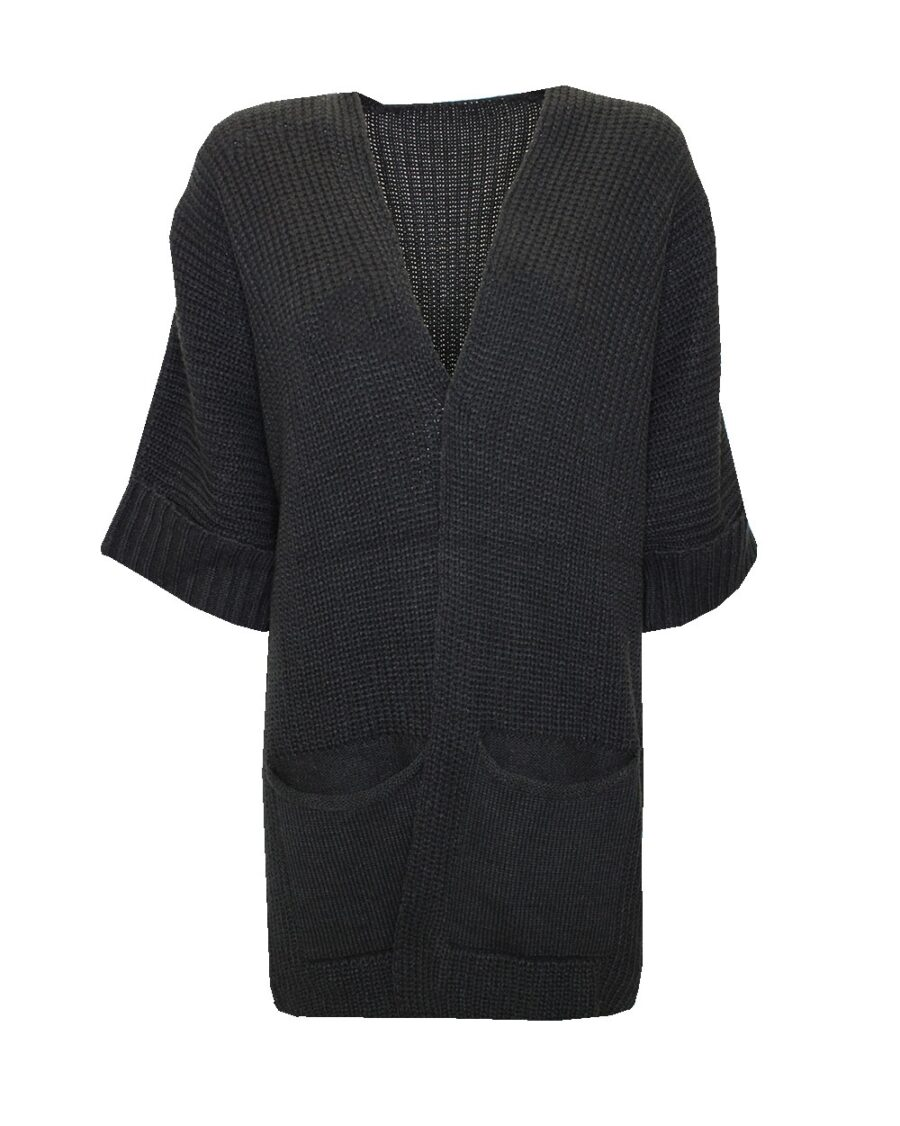 Long knitted Cardigan Black -0