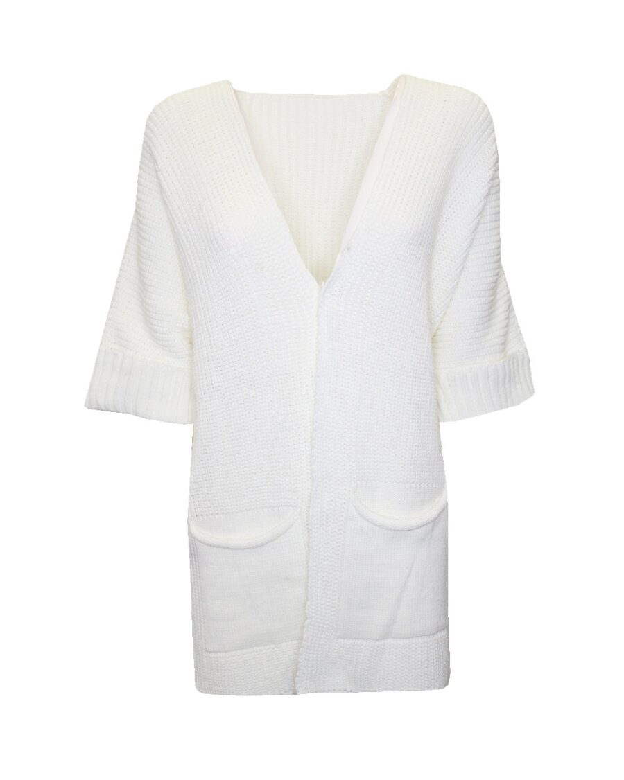 Long knitted Cardigan White -0