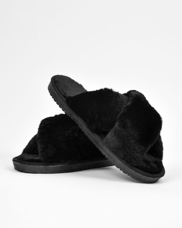 Furry Slides Felice Black -0