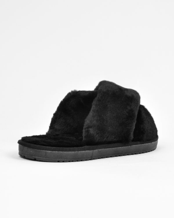 Furry Slides Felice Black -6396