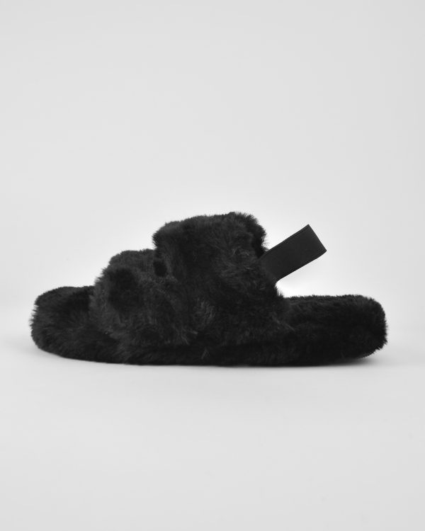 Furry Slides Nina Black -6389